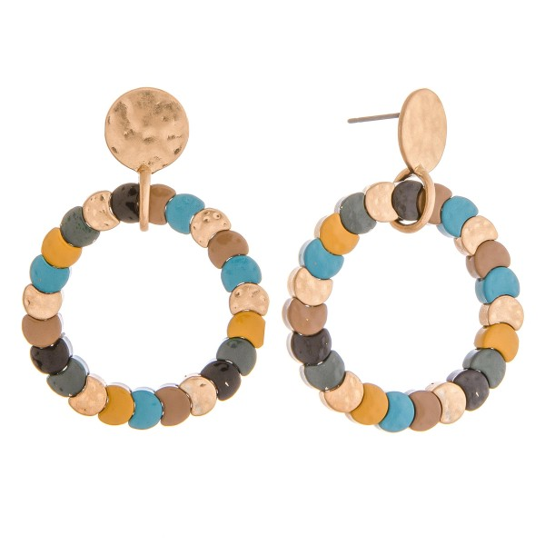 "Color block stretchy open circle drop earrings.   - Approximately 1.5"" in length and 1"" in diameter"