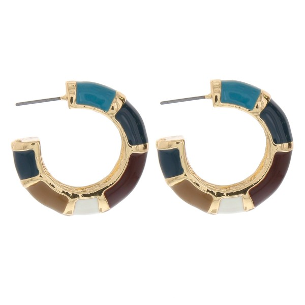 "Enamel color coated color block thick open hoop earrings.  - Approximately 1.25"" in diameter - Thickness approximately 7mm"