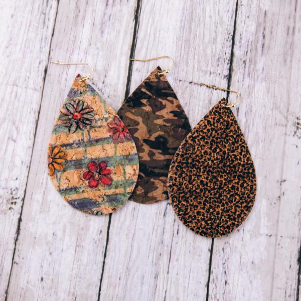 "Thin cork camouflage teardrop earrings. Approximately 3"" in length."