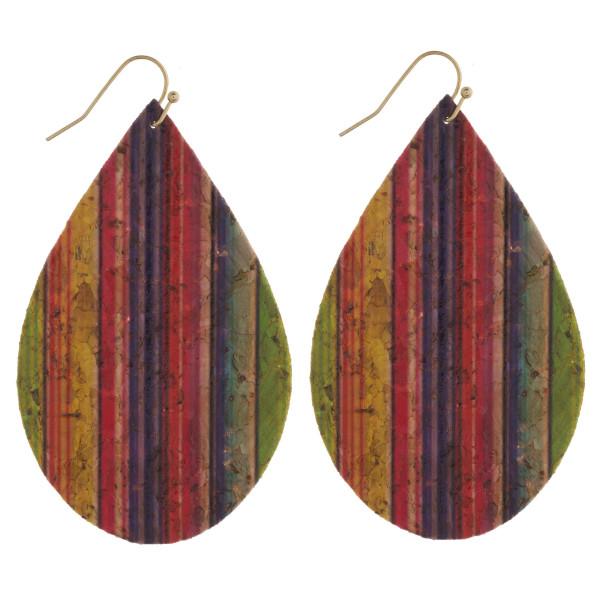 """Thin cork diagonal serape teardrop earrings. Approximately 3"""" in length."""