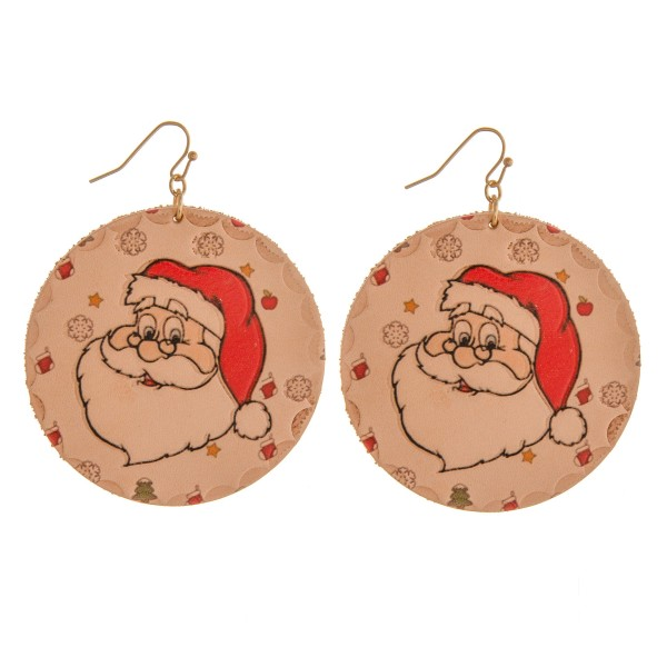 """High quality faux leather Christmas Santa illustration disc earrings.  - Approximately 3"""" in length and 2"""" in diameter"""