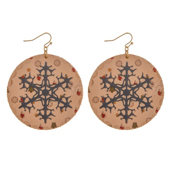 """High quality faux leather Christmas snowflake disc earrings.  - Approximately 3"""" in length and 2"""" in diameter"""
