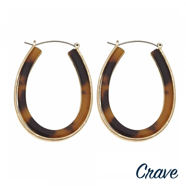 "Metal encased resin pin catch hoop earrings. Approximately 2"" in length."