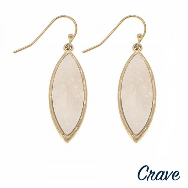 "Pointed oval metal encased druzy dangle earrings. Approximately 1.25"" in length."