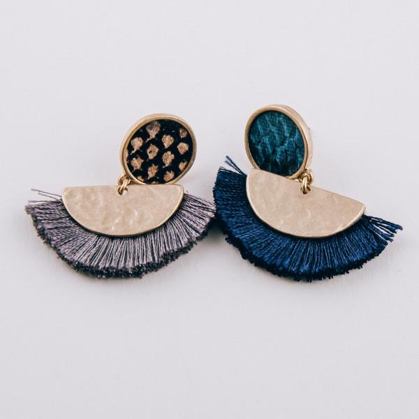 "Hammered encased faux leather snakeskin stud half moon tassel dangle earrings. Approximately 1.25"" in length."