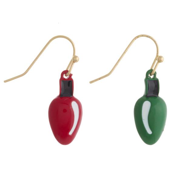 """Enamel coated Christmas light bulb dangle earrings. Approximately .75"""" in length."""