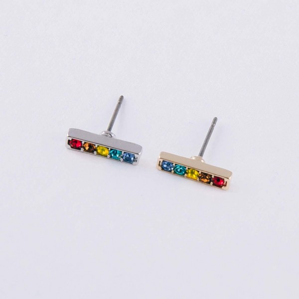 "Multicolor cubic zirconia stud bar earrings. Approximately .5"" in length."