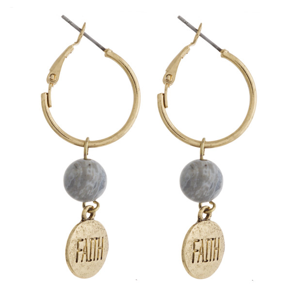 "Gold natural stone ""Faith"" engraved dangle hoop earrings. Approximately 1.5"" in length."