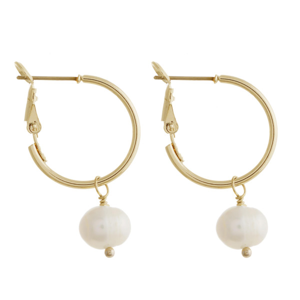 "Freshwater pearl dangle hoop earrings. Approximately 1"" in length."