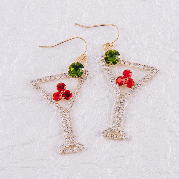 "Rhinestone cubic zirconia martini dangle earrings. Approximately 1.75"" in length."