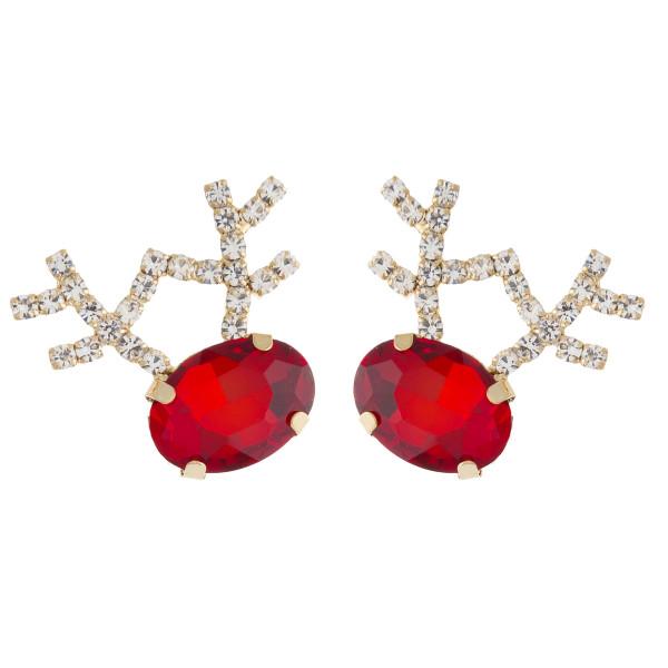 """Rhinestone cubic zirconia reindeer stud earrings. Approximately 1"""" in length."""