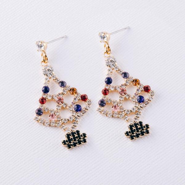 "Multicolor rhinestone encased Christmas tree dangle earrings. Approximately 2"" in length."