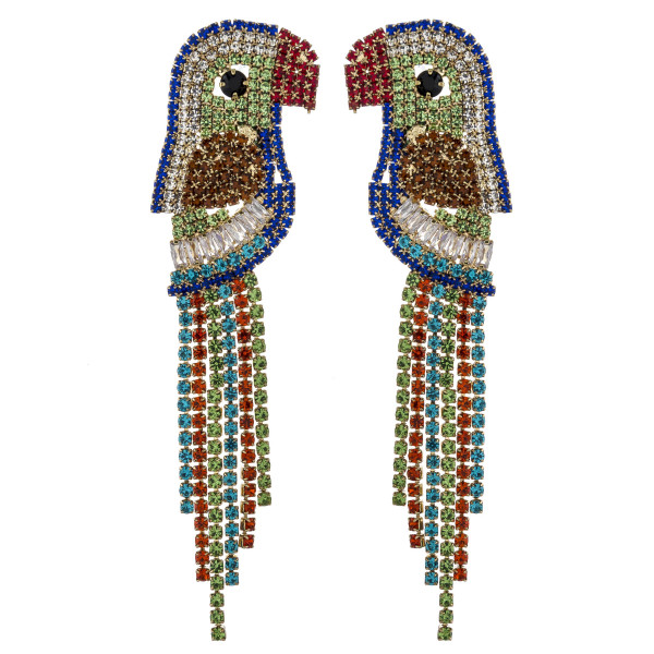 "Multicolor rhinestone encased parrot tassel earrings. Approximately 3"" in length."