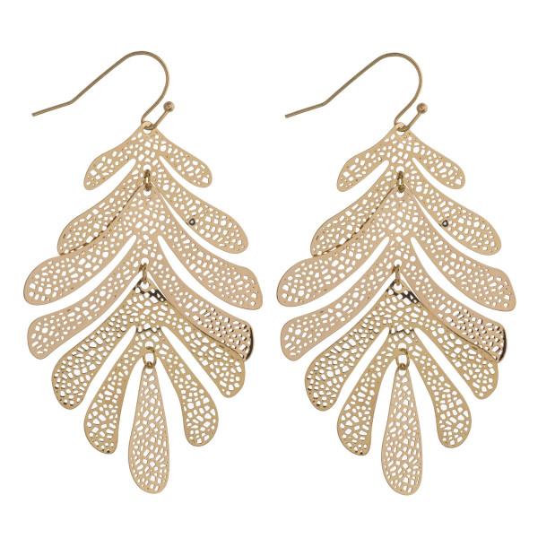 "Brass filigree palm leaf dangle earrings. Approximately 2.5"" in length."