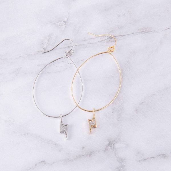 "Glittery lightning bolt flexi wire dangle earrings. Approximately 2.5"" in length."