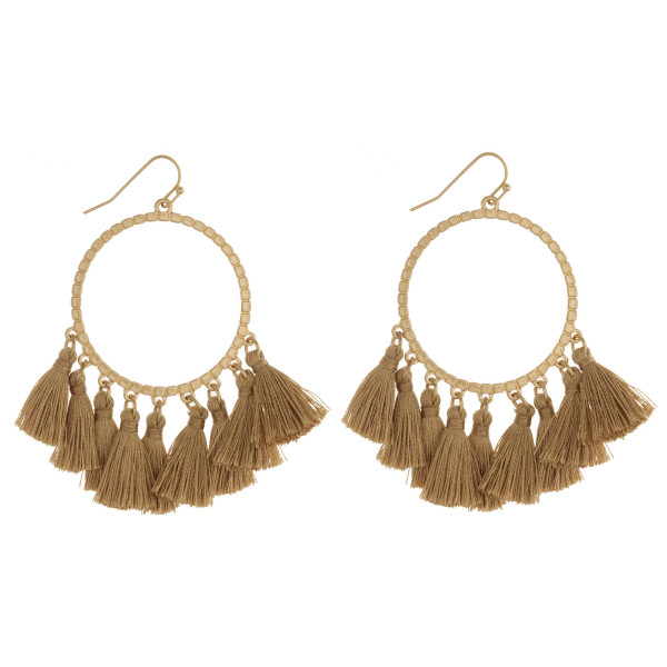 "Textured round fan tassel dangle earrings. Approximately 2.5"" in length."