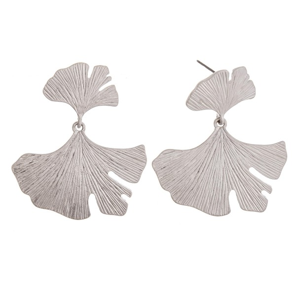 """Silver textured metal flower drop earrings.  - Approximately 2"""" in length"""