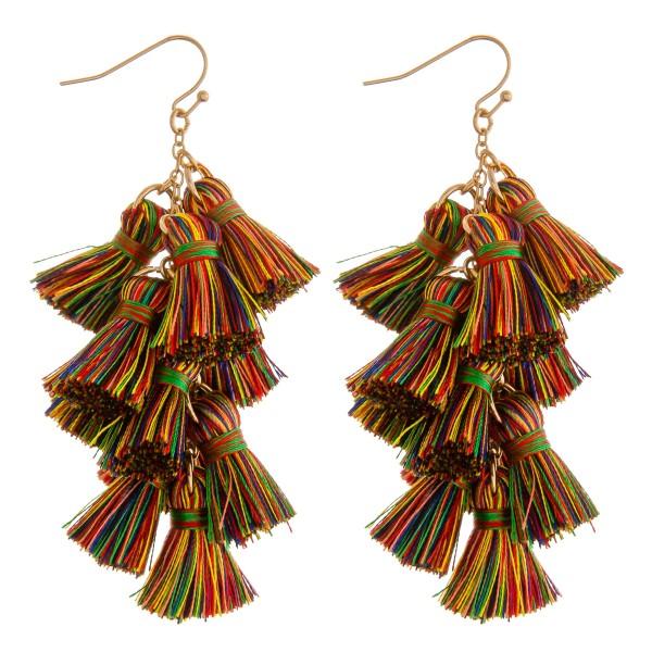 """Chain linked fan tassel drop earrings.  - Approximately 3"""" in length"""