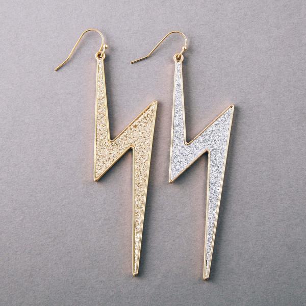 """Glittery lightning bolt earrings. Approximately 3.5"""" in length."""