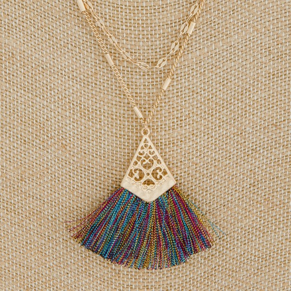 "Layered filigree metallic tassel pendant necklace.  - Pendant approximately 2"" in length - Approximately 20"" L overall with 3.5"" extender"