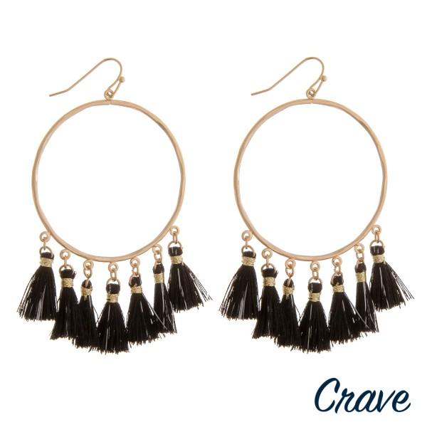 "Open circle metallic tassel boho earrings.  - Approximately 3"" in length - Approximately 1.75"" in diameter"