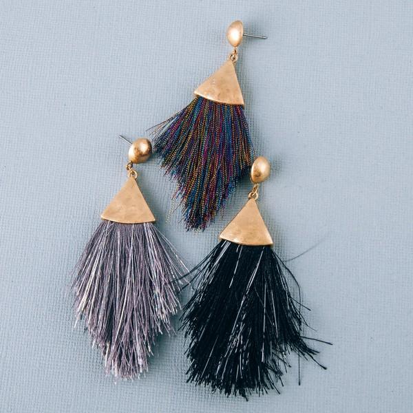 "Hammered metallic tassel drop earrings.  - Approximately 3.5"" in length"