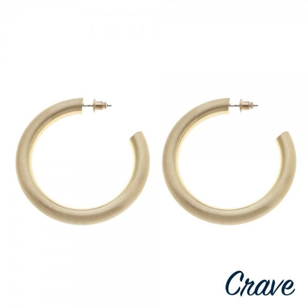 "Thick matte gold open hoop earrings.  - Approximately 1.75"" in diameter - Thickness 5mm in diameter"