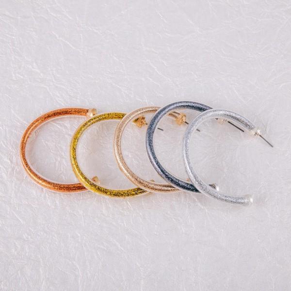 """Glitter jelly open hoop earrings.  - Approximately 2"""" in diameter"""