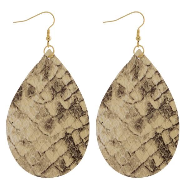 """Thin faux leather snakeskin teardrop earrings. Approximately 3"""" in length."""