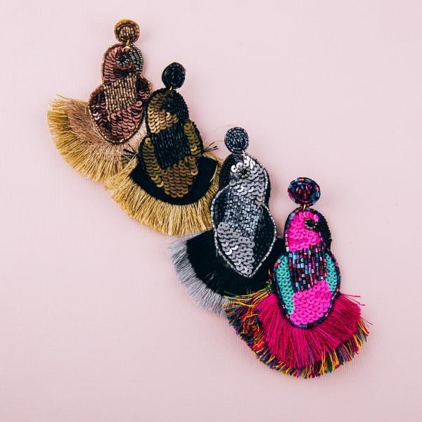 """Oversized seed beaded sequin felt bird tassel earrings. Approximately 4.5"""" in length."""