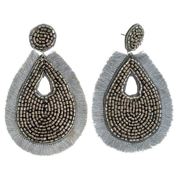 """Seed beaded felt teardrop tassel drop earrings. Approximately 3.75"""" in length."""