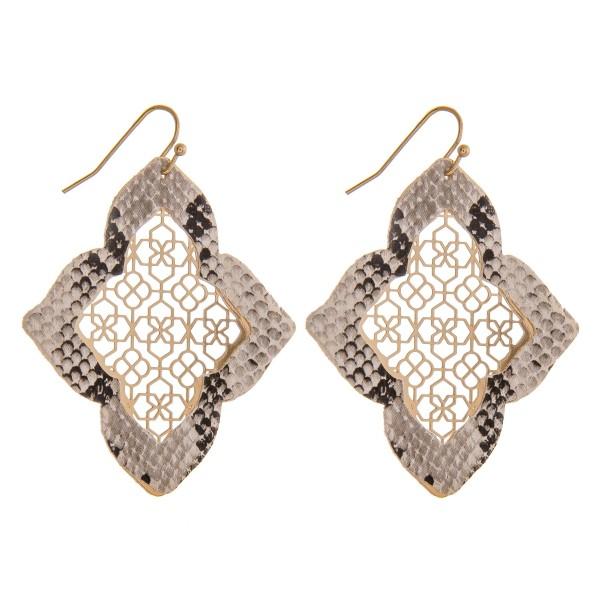 "Moroccan faux leather snakeskin filigree drop earrings.   - Approximately 2.25"" in length"