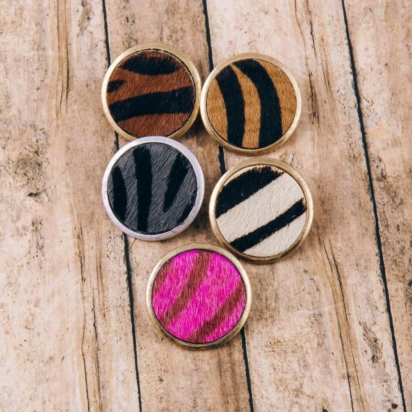 "Faux fur animal print stud earrings. Approximately 1"" in diameter."