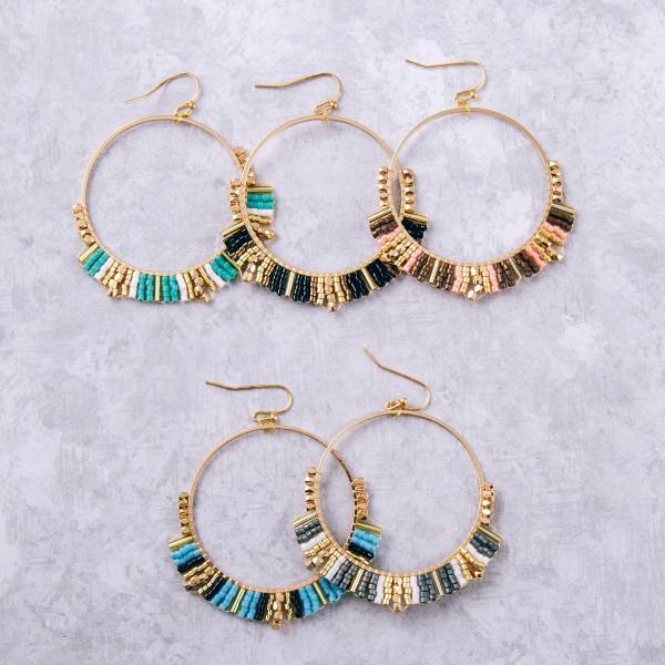 "Seed beaded woven tassel boho earrings. Approximately 2"" in length."