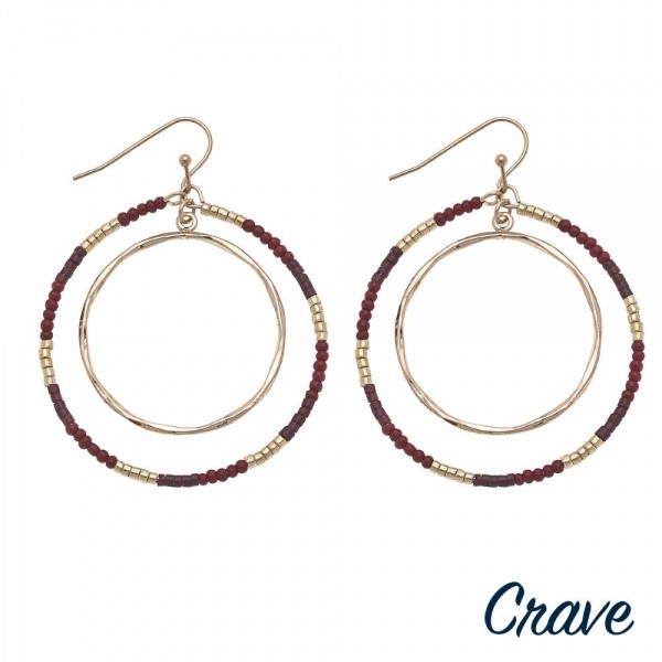 "Seed beaded nested open circle drop earrings.  - Approximately 2"" in length"