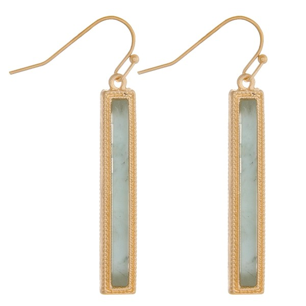 "Natural stone bar drop earrings.  - Approximately 1.5"" in length"
