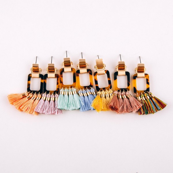 "Tortoise shell fringe tassel earrings.  - Approximately 2.25"" in length"