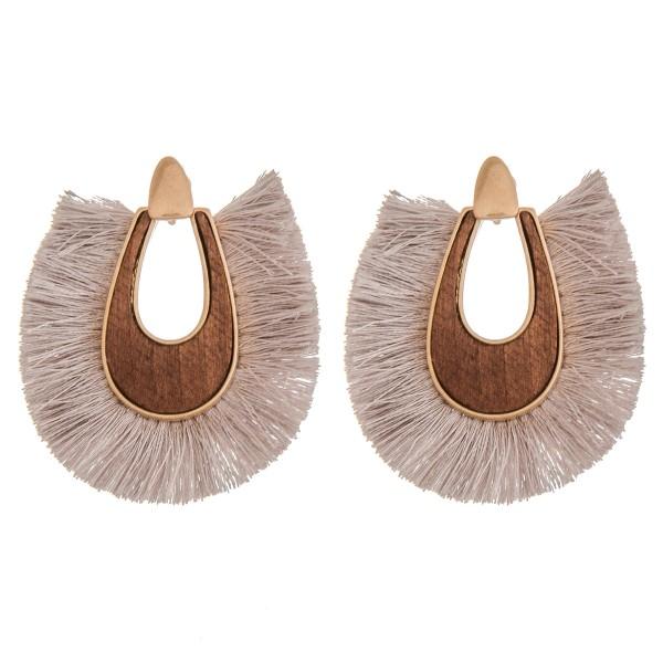 "Wood fringe tassel statement earrings.  - Approximately 2.25"" in length"