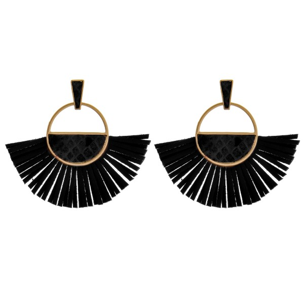 "Open circle faux leather tassel earrings with snakeskin details.  - Approximately 2.5"" in length"