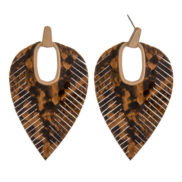 "Faux leather snakeskin hinge cut out earrings.  - Approximately 2.75"" in length"