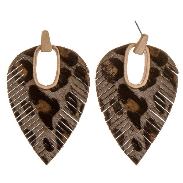 "Faux leather cowhide leopard print hinge cut out earrings.  - Approximately 2.75"" in length"