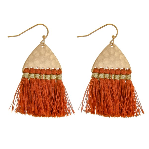 "Hammered fringe tassel drop earrings.  - Approximately 2"" in length"