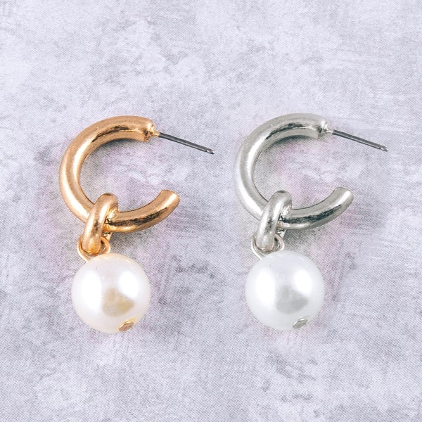 "Open hoop drop pearl earrings.  - Approximately 1.25"" in length"