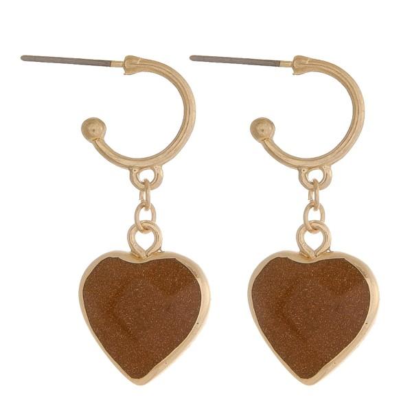"Natural stone heart huggie open hoop earrings.  - Approximately 1.5"" in length"