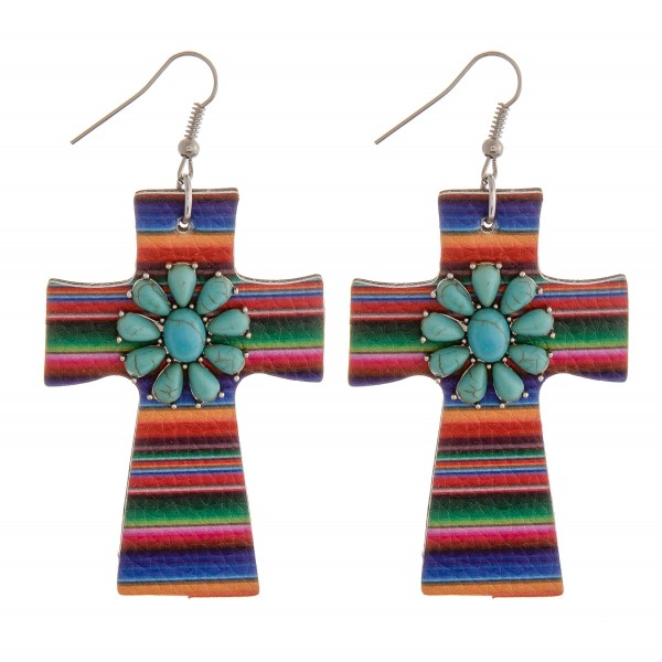 """Faux leather serape natural stone cross earrings.  - Approximately 3"""" in length"""