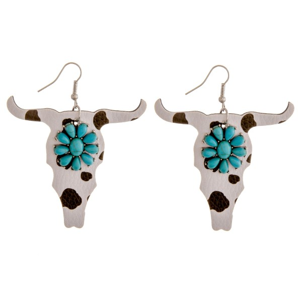 """Faux leather cow print natural stone steer head earrings.  - Approximately 2.75"""" in length"""