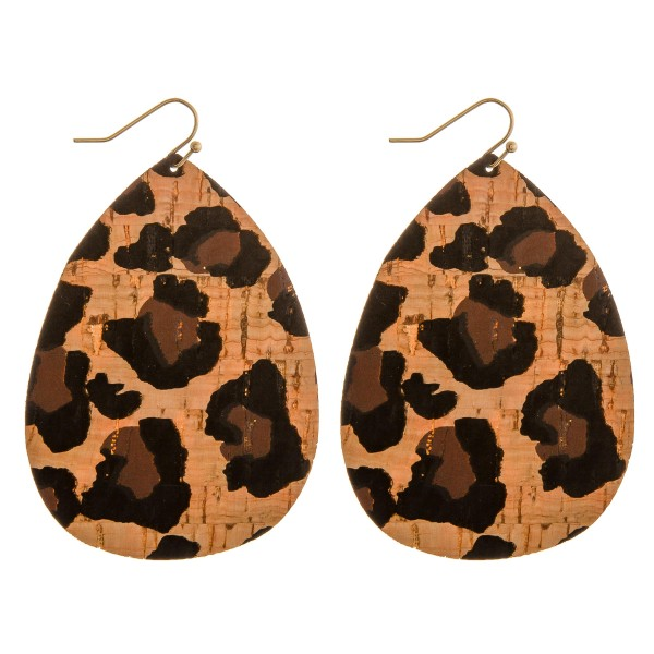 "Thin leopard print cork teardrop earrings.  - Approximately 3"" in length"