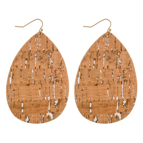 "Cork teardrop earrings.  - Approximately 3"" in length"