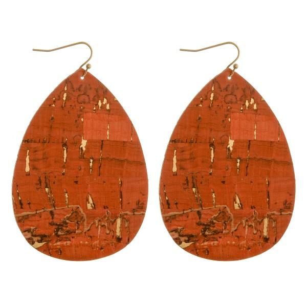 """Cork teardrop earrings.  - Approximately 3"""" in length"""