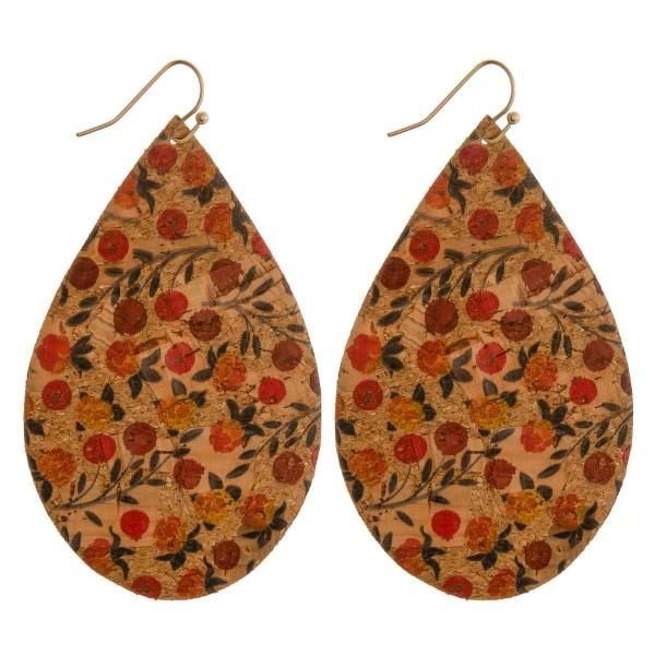 "Thin flower blossom cork teardrop earrings.  - Approximately 3"" in length"